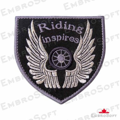 Motorcycle Wheel with Silvery Wings Frontal