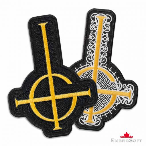 Ghost BC Golden Grucifix Cross Symbol with Pattern Embroidered Patch (4.4″ × 6″) Ghost