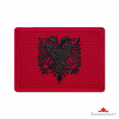 Flag of Albania Embroidered Patch (2.8″ × 2″) Flags of Europe