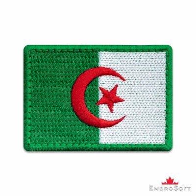 Flag of Algeria Embroidered Patch (2.8″ × 2″) Flags of Africa