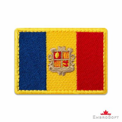 Flag of Andorra Embroidered Patch (2.8″ × 2″) Flags of Europe