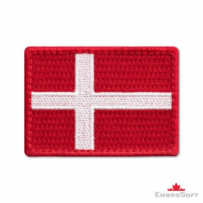 Flag of Denmark Embroidered Patch (2.8″ × 2″) Flags of Europe