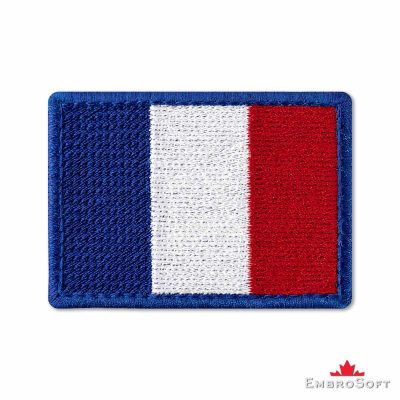 Flag of France Embroidered Patch (2.8″ × 2″) Flags of Europe