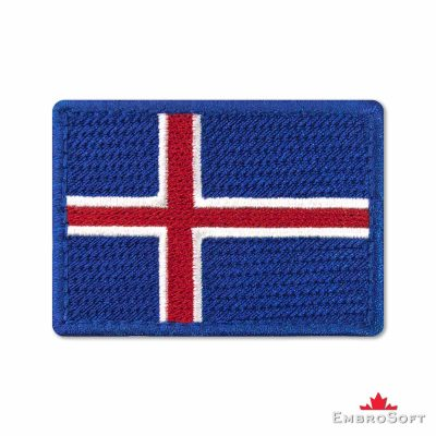 Flag of Iceland Embroidered Patch (2.8″ × 2″) Flags of Europe