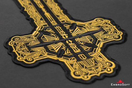 Ghost BC Grucifix Cross with Golden Pattern Black Background