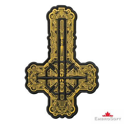 Ghost BC Grucifix Cross with Golden Pattern Frontal