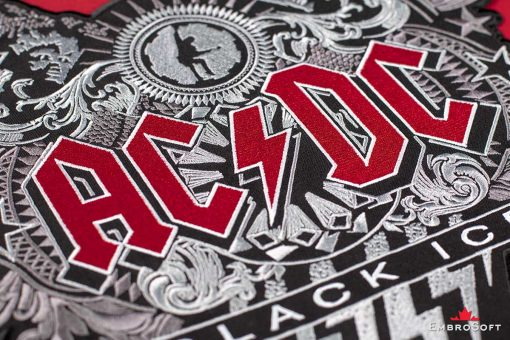 AC/DC Black Ice Embroidered Patch Macro Photo