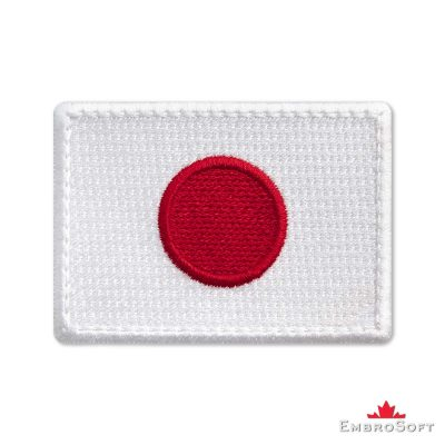 Flag of Japan Embroidered Patch (2.8″ × 2″) Flags of Asia