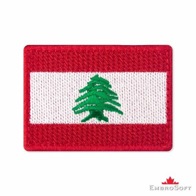 Flag of Lebanon Embroidered Patch (2.8″ × 2″) Flags of Asia