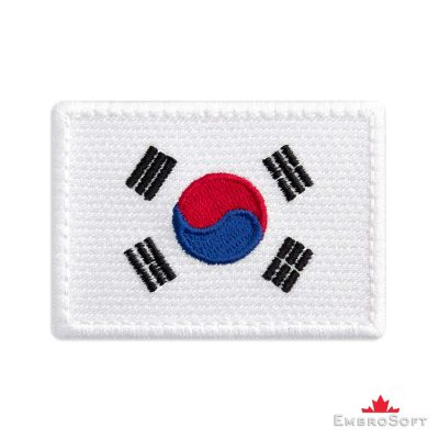 Flag of South Korea Embroidered Patch (2.8″ × 2″) Flags of Asia