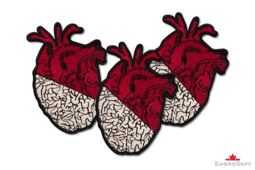 Heart and Brain Embroidered Patch Collage Photo