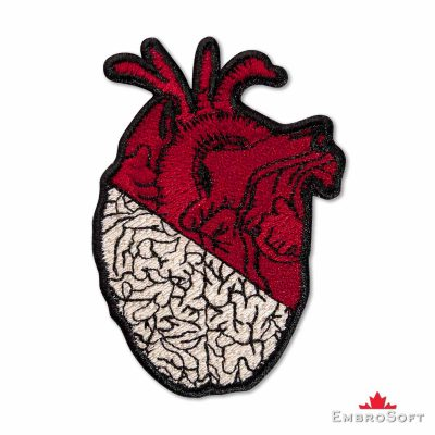 Heart and Brain Embroidered Patch Frontal Photo