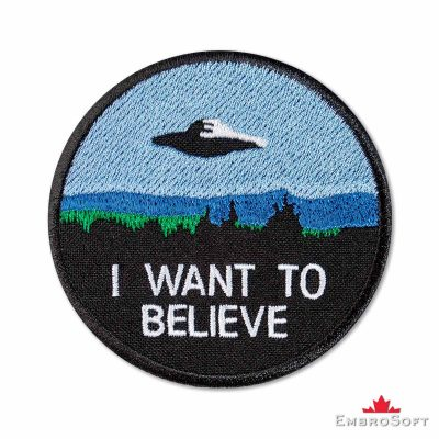 I want to believe UFO Embroidered Patch Frontal Photo