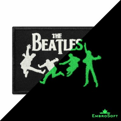The Beatles Logo with Silhouette Embroidered Glowing Patch (3.6″ x 2.2″) Glow in the dark