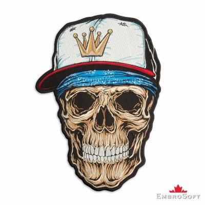 Rap Hip-Hop Skull in Cap Embroidered Patch