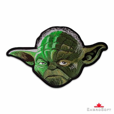 Star Wars Head of Master Yoda Left Side Embroidered Patch Frontal Photo