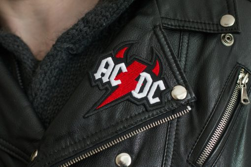 Ac Dc logo Leather Jacket