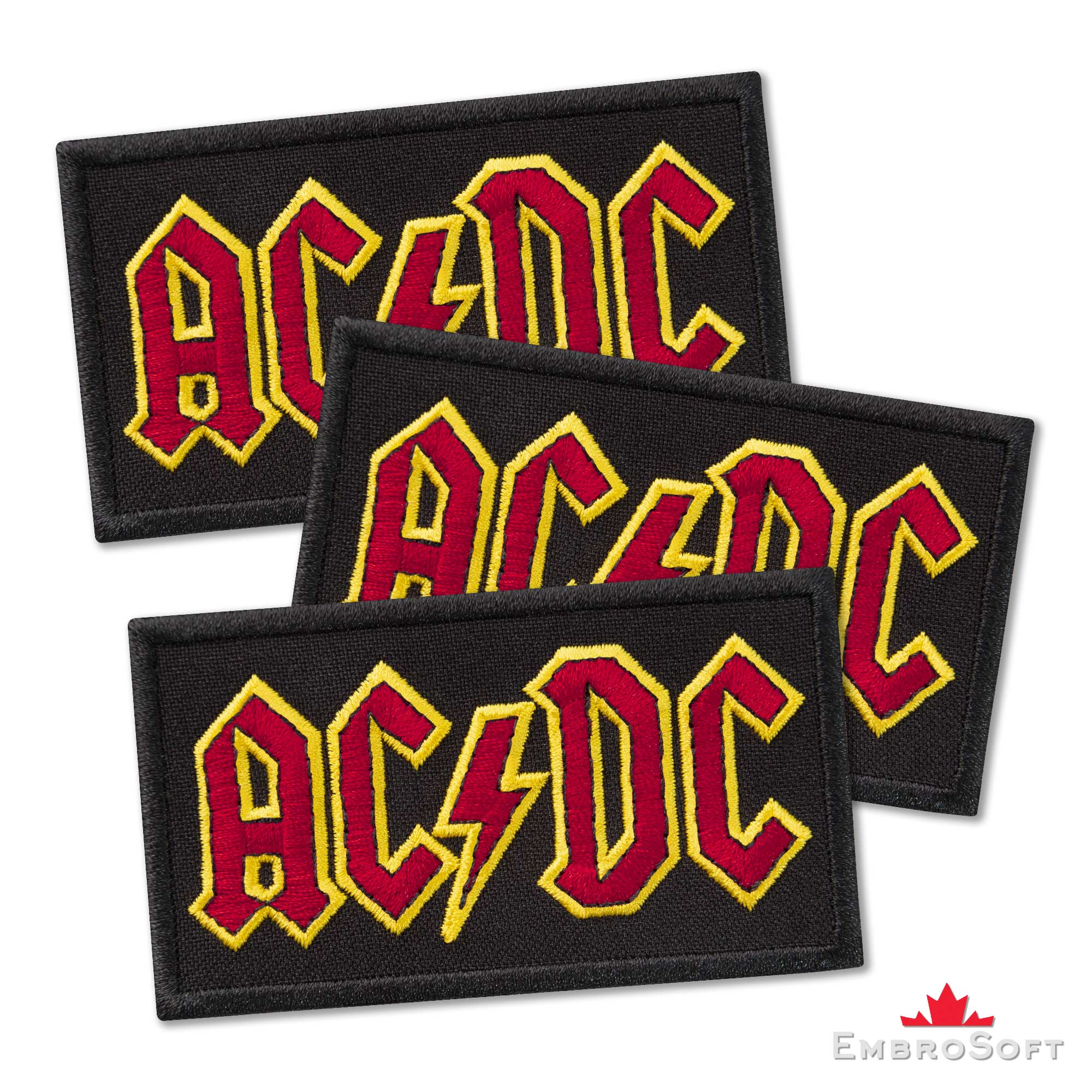 Ac Dc Logo Embroidered Patch 3 4ʺ X 1 9ʺ Embrosoft