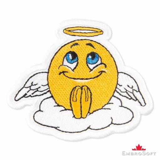 Angel Emoji Embroidered Patch Iron On (3.1″ x 2.6″) Emoji