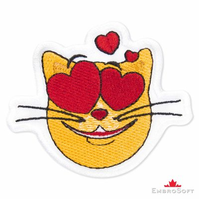 Cat in Love Emoji Embroidered Patch Iron On (2.9″ x 2.4″) Emoji