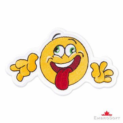Crazy Emoji Embroidered Patch Iron On (4.3″ x 2.6″) Emoji