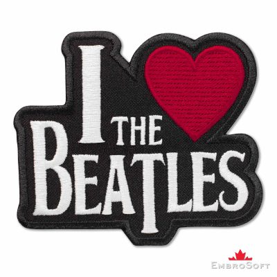 The Beatles I love the Beatles Embroidered Patch (3.4ʺ x 3ʺ) Love & Hearts