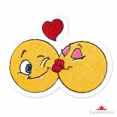 Kiss Emoji Embroidered Patch Iron On (3.3″ x 2.6″) Emoji