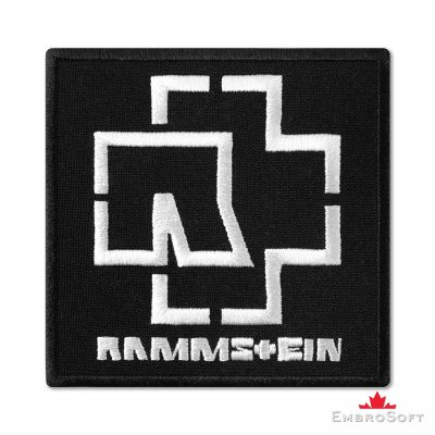 Rammstein Black & White Logo Embroidered Patch (3.6″ x 3.6″) Music
