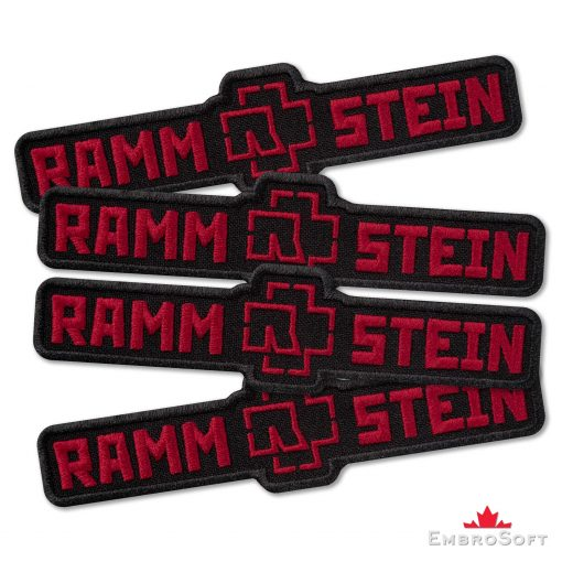 Rammstein Black and Red Logo Embroidered Patch (4.6ʺ x 1.2ʺ) Music