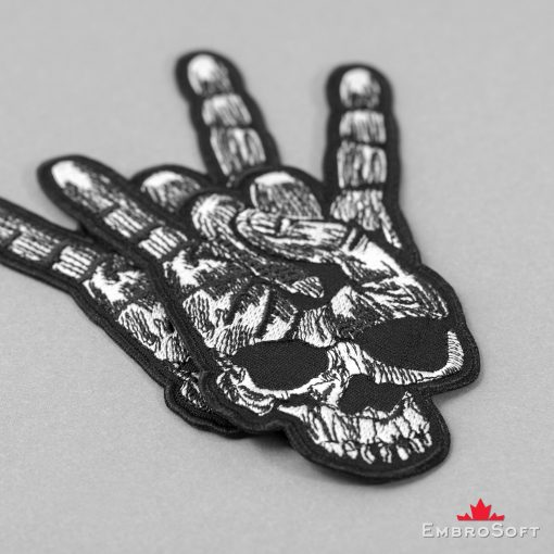 Horns Up Heavy Metal Sign with Skull Embroidered Patch (3.9″ x 5.6″) Music