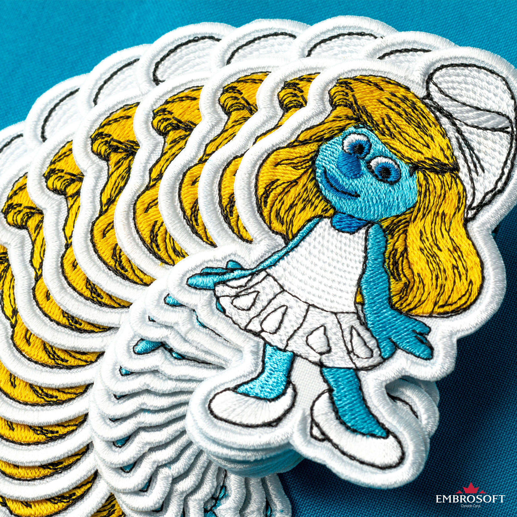 SMURF SMURFETTE DISNEY CARTOON KIDS COMICS Embroidered Iron Sew On Patch Logo