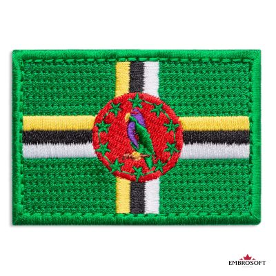 Flag of Dominica Embroidered Patch (2.8″ × 2″) Flags of North America