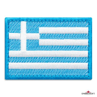 Flag of Greece Embroidered Patch (2.8″ × 2″) Flags of Europe