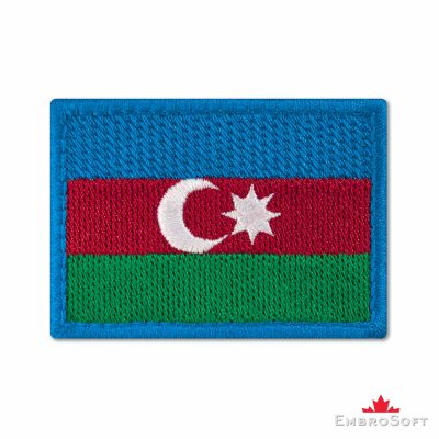 Flag of Azerbaijan Embroidered Patch (2.8″ × 2″) Flags of Asia