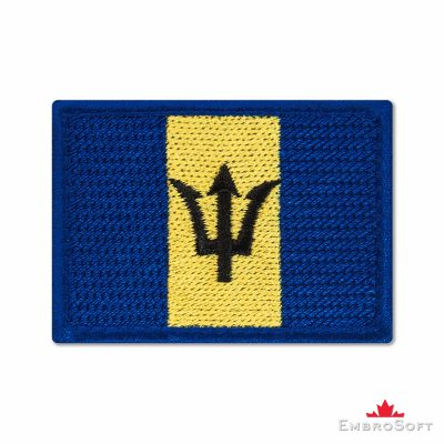 Flag of Barbados Embroidered Patch (2.8″ × 2″) Flags of North America