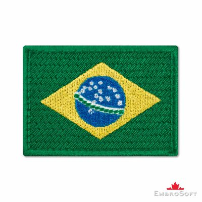 Flag of Brazil Embroidered Patch (2.8″ × 2″) Flags of South America