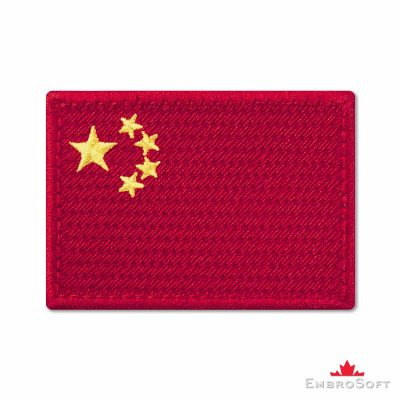 Flag of China Embroidered Patch (2.8″ × 2″) Flags of Asia