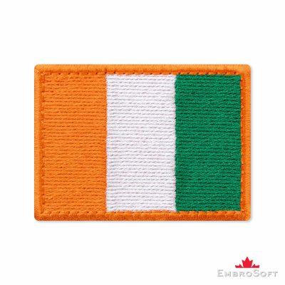 Flag of Ivory Coast (Cote d'Ivoire) Embroidered Patch (2.8″ × 2″) Flags of Africa