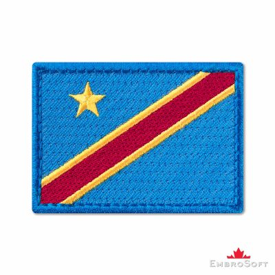 Flag of Democratic Republic of the Congo Embroidered Patch (2.8″ × 2″) Flags of Africa