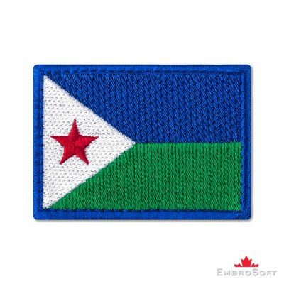 Flag of Djibouti Embroidered Patch (2.8″ × 2″) Flags of Africa