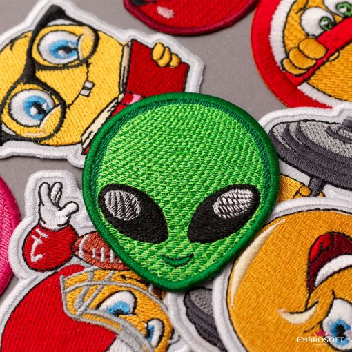 Alien Emoji Embroidered Patch Iron On (2.2″ x 2.7″) Emoji