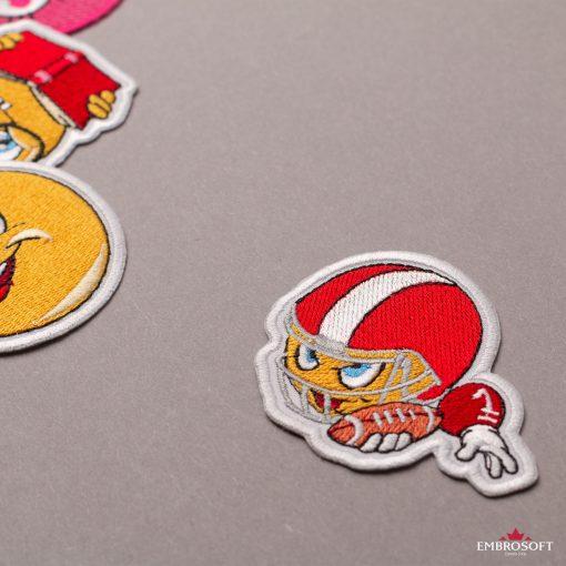 American Football Player Emoji Embroidered Patch Iron On (2.6″ x 2.9″) Emoji