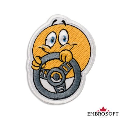 Driver Emoji Embroidered Patch Iron On (2.4″ x 3″) Emoji