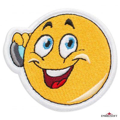 Emoji with Phone Embroidered Patch Iron On (2.8″ x 2.6″) Emoji