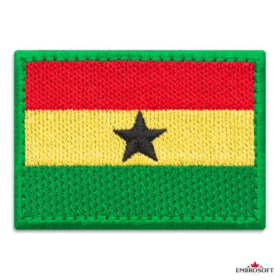 Flag of Ghana Embroidered Patch (2.8″ × 2″) Flags of Africa