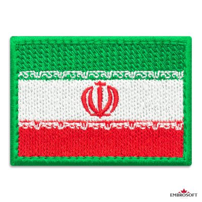 Flag of Iran Embroidered Patch (2.8″ × 2″) Flags of Asia