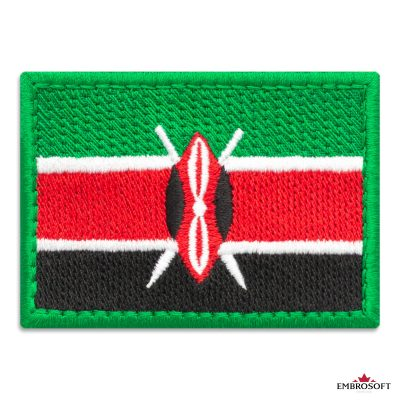 Flag of Kenya Embroidered Patch (2.8″ × 2″) Flags of Africa