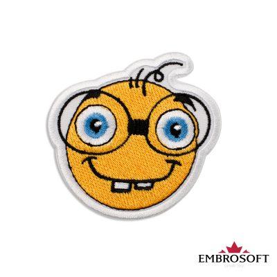 Nerd with Glasses Emoji Embroidered Patch Iron On (2.7″ x 2.7″) Emoji