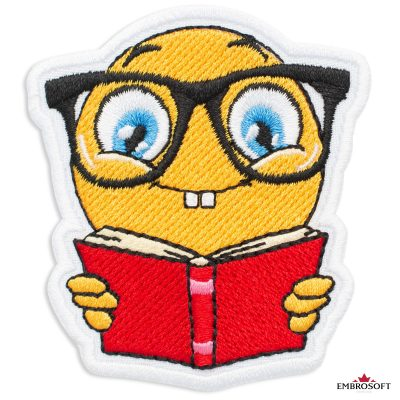 Nerd with Book Emoji Embroidered Patch Iron On (2.4″ x 2.7″) Emoji