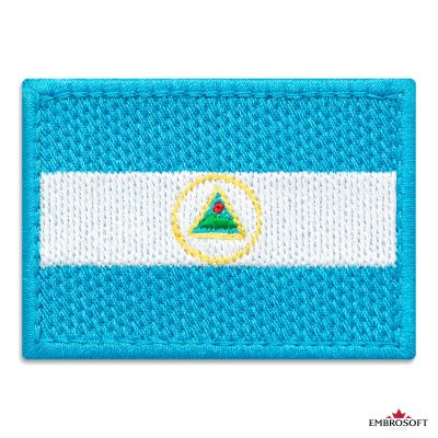Flag of Nicaragua Embroidered Patch (2.8″ × 2″) Flags of South America